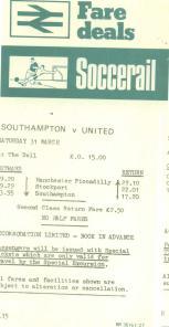 Rail Handbill v Man Utd 70s