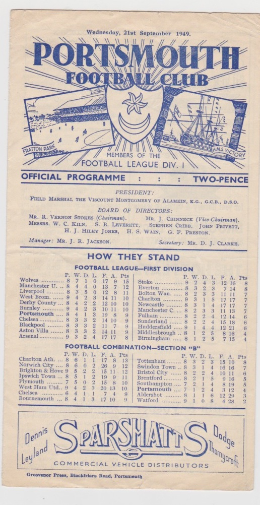 Portsmouth v Denmark  - 1949/1950